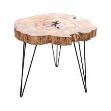 Meubilair Coffee table tamarind wood, iron legs (dia 100-110 cm)